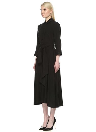 Düğme Kapamalı Nakış Detaylı Şık Elbise-Beymen Club